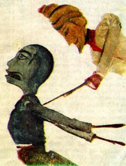 "Nina Bohlen's monotype ""Puppet Show No. 1"""